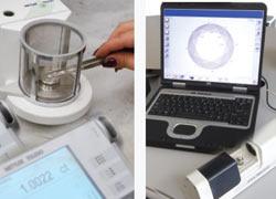 Kim cương đang được GIA đáng giá trọng lượng (trái) và kích thước (Phải)